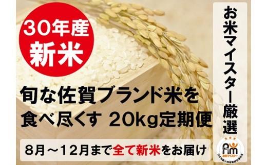 R-3【新米限定定期便】佐賀県産ブランド米(白米20kg×5回コース)