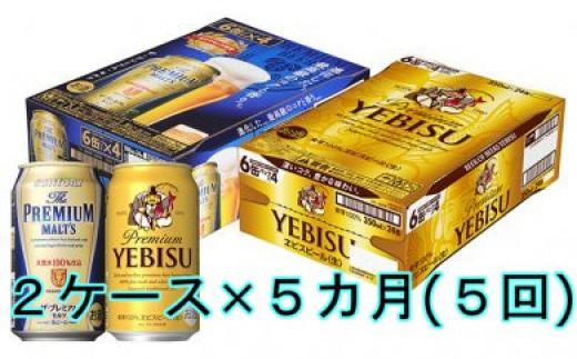 J-033 【5カ月定期便】プレミアムモルツ350ml&ヱビスビール350ml(各1ケース×5回)