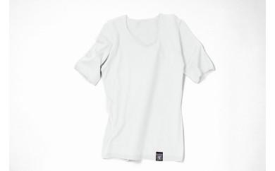 NUONE海島綿ラウンドネック半袖プルオーバー オフホワイト