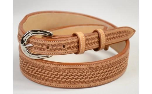 E-43 牛革手縫いバスケットベルト【10pt】