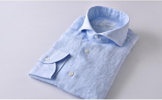 [№5636-0289]【限定】HITOYOSHIリネンシャツ(ブルー)紳士用