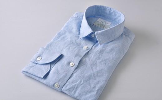 [№5636-0287]【限定】HITOYOSHIリネンシャツ婦人用(ブルー)