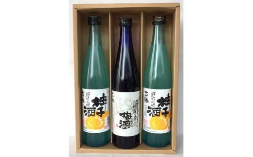 「千代鶴 特醸セットA-11」梅酒(うめざけ)500ml2本と柚子酒(ゆずざけ)500mlの詰合せ
