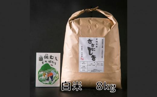 田伝むしのササニシキ白米8kg(農薬:栽培期間中不使用)