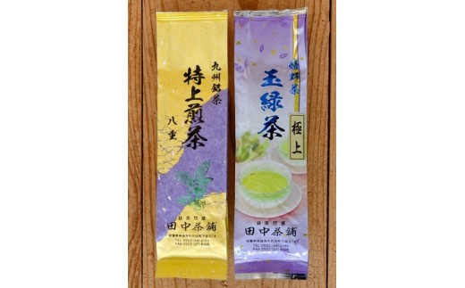 嬉野茶 極上玉緑茶1本・九州銘茶 特上煎茶1本 飲み比べセット