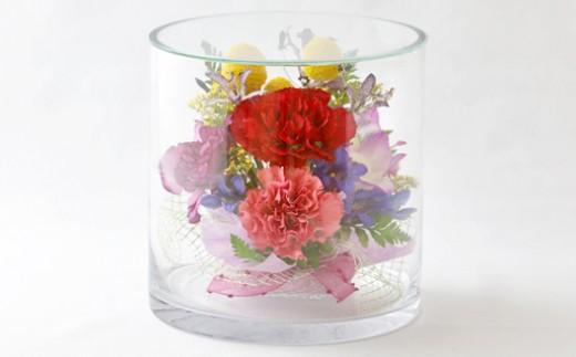 D45 ボトルフラワー✿ゴールデンスティックとカーネーション(短円筒型) 【花の美しさそのまま】