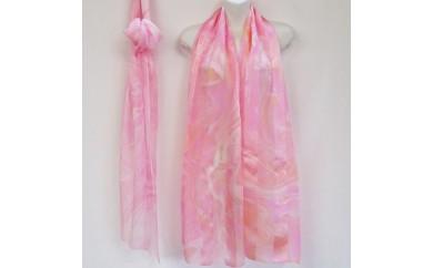 ◆墨流し染シルクショール(レディース)ピンク系