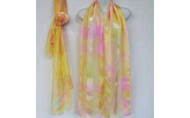 ◆墨流し染シルクショール(レディース)黄色、オレンジ系ミックス