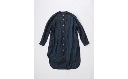 AN-1906 【泥藍染】手染めリネン切替BIGシャツ(TS13-W06-BL)