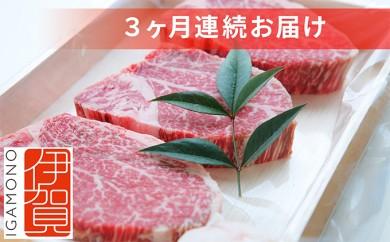 [№5831-0118]伊賀肉サーロインヒレステーキセット(3ケ月連続)