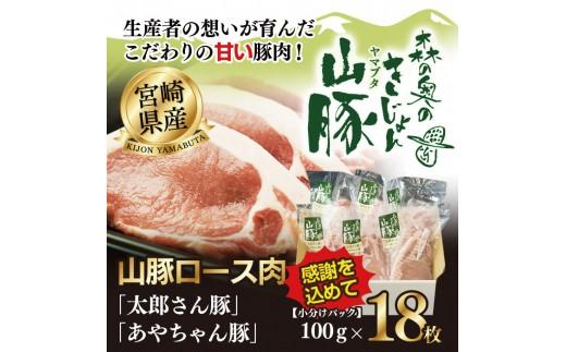 108_hn <宮崎 山豚ロース肉100g×18枚>平成30年6月末迄に順次出荷