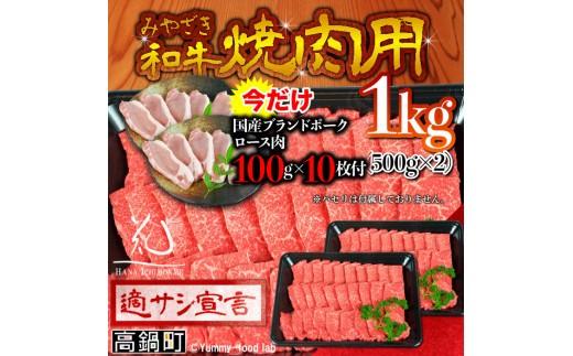 059_hn_x3 <みやざき和牛 焼肉用 1kg+ブランドポーク100g×10枚>平成30年6月末迄に順次出荷