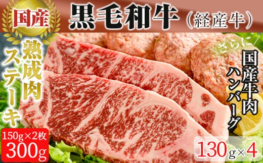 y052 黒毛和牛(経産牛)ロースステーキ<熟成牛肉>300g(150g×2枚) 手作りハンバーグ4個セット(130g×4個)【ホクシン】