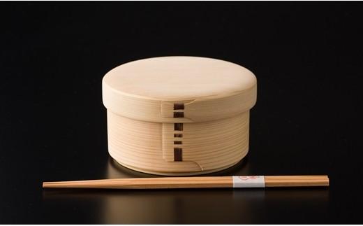 135P6001 白木丸弁当箱&六角杉箸