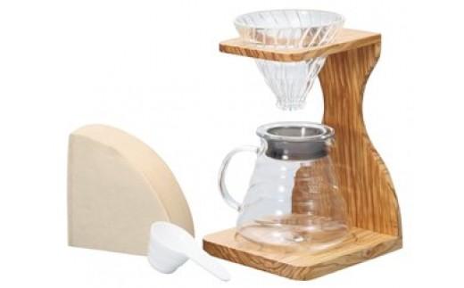 ハリオV60オリーブウッドスタンドセット(コーヒーサーバー)