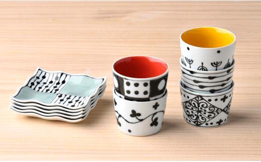 DC03 【波佐見焼】 カラフルカップ&小皿ペア 5色10点セット-3