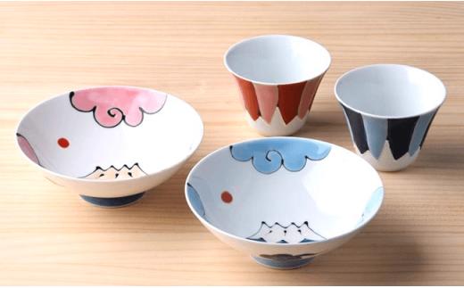 DC11 【波佐見焼】 富士山 平茶碗&フリーカップ 赤富士・青富士ペア4点セット-3