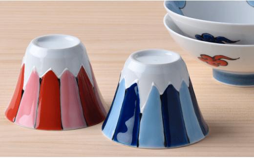DC11 【波佐見焼】 富士山 平茶碗&フリーカップ 赤富士・青富士ペア4点セット-4