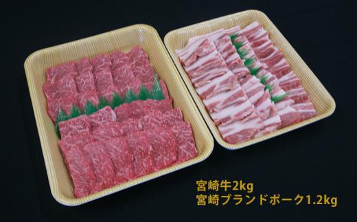 Q14 延岡育ちの宮崎牛・宮崎ブランドポーク焼肉セット (10〜15人前)