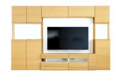 キューブ140セット タモ/140TVボード・140壁・140上置き・TVブラケット・80キャビネット・40キャビネット(右開き)