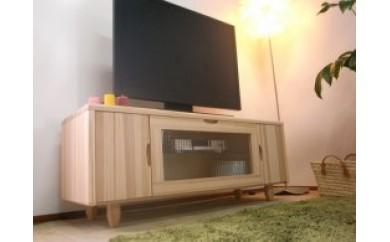 【人気のチェッカーガラスを使用し国産杉のTVボード】Waffle130テレビボード