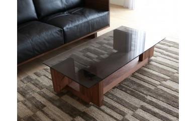 CARAMELLA Living Table 1206 walnut (glass top)