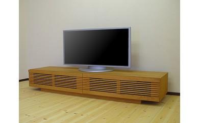シャープなルーバー扉180cm幅ブラックチェリー材のテレビボード「VOICE」[mu-tv32]