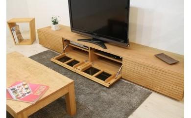 風雅 テレビボード テレビ台 W2200 ブラックチェリー スリット