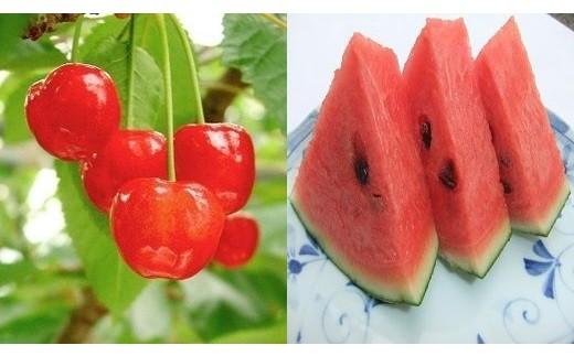 0030-118 季節のフルーツセット(さくらんぼ、すいか)【頒布会】