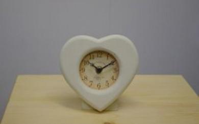 ハート置き時計 アンティークホワイト