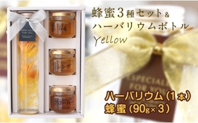 DJ33 ハーバリウム(イエロー)&蜂蜜3種セット
