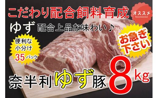 kan166 ドカンと8kg!!もっちり食感♪こだわり配合飼料育成!奈半利ゆず豚満喫セット