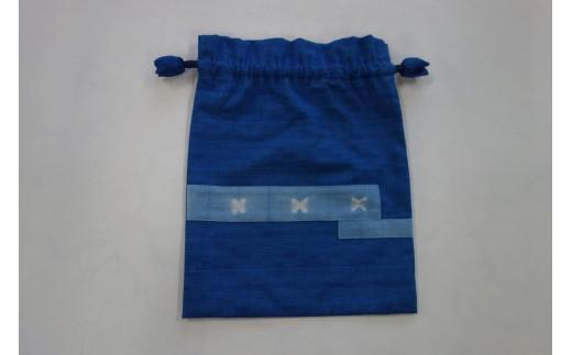 藍染め「ちずぶるー」巾着
