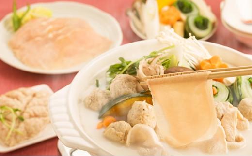 [№5545-0087]【奈良県産】飛鳥鍋セット 大和鶏肉 計750g(つみれ含む) ◆スープ付き