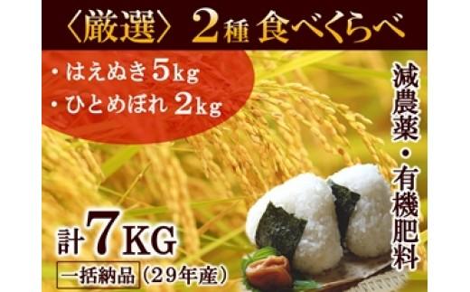 NA334 平成29年産 月山の恵み 庄内米 はえぬき5kg、ひとめぼれ2kg