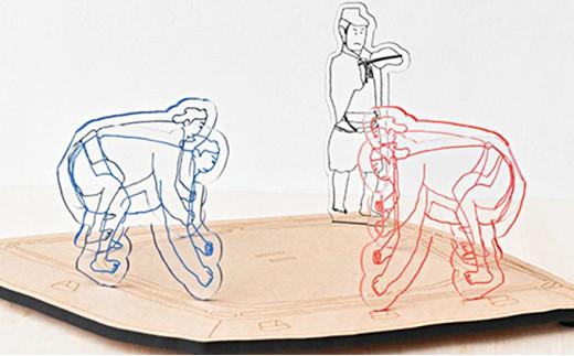 [№5545-0054]【なつかしのおもちゃ】トントン相撲セット