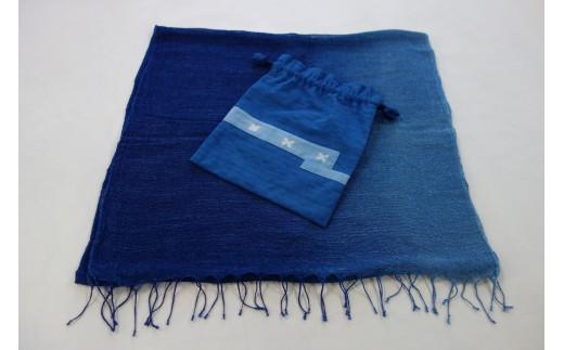藍染め「ちずぶるー」巾着+麻ヘンプショール
