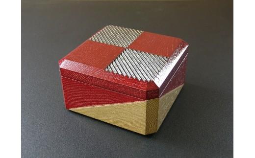 29-05-033.【漆工芸・黄薇彫】ミニ木箱「市松文様」
