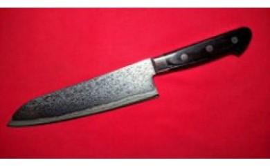 ステンレス製割込ダイス鋼入高級複合包丁ダマスカス三徳包丁刃渡り180mm
