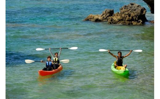 無人ビーチ上陸カヤック+青の洞窟&熱帯魚 餌付けシュノーケリング(ペア)