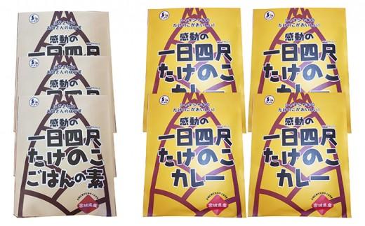 [№5552-0012]【丸森町特産】 たけのこカレー4個とたけのこご飯のもと 3個