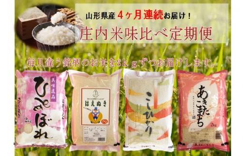 NC100 平成29年産 庄内米食べくらべ定期便 2kg×4袋 4ヵ月