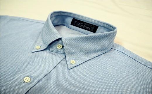 紳士ニットシャツ(サックス) サイズS/M/L/XL