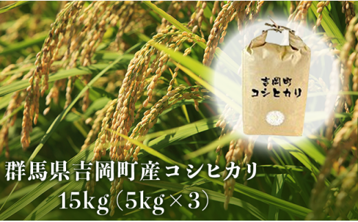 B13 (平成29年産米)吉岡コシヒカリセット 15kg(5kg×3袋)