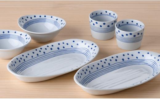 LB07 【波佐見焼】ドットライン カレー皿/ボウル/カップ ペアセット【石丸陶芸】-2