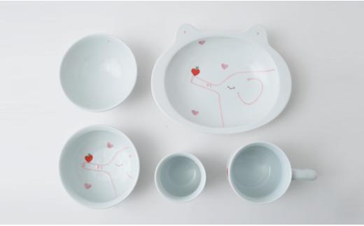 PA44 【波佐見焼】キッズにおすすめ!りんご&ゾウ おすましセット(ピンク)【福田陶器店】-5