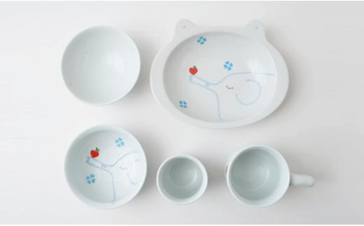 PA45 【波佐見焼】キッズにおすすめ!りんご&ゾウ おすましセット(ブルー)【福田陶器店】-5