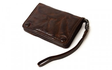 ヴィンテージ風ストラップ付イタリアレザー短財布