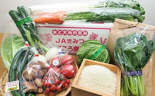F)季節の野菜まごころBOX&コシヒカリ3kg【月1回・計3回】