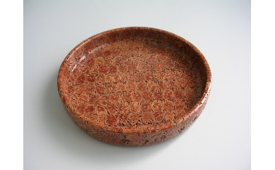Q011 桃の実全面丸盆(7寸)